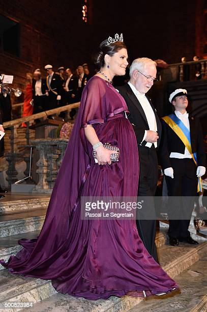Crown Princess Victoria of Sweden and Nobel Prize in Physics Professor Emeritus Arthur B McDonald arrive at the Nobel Prize Banquet 2015 at City Hall...