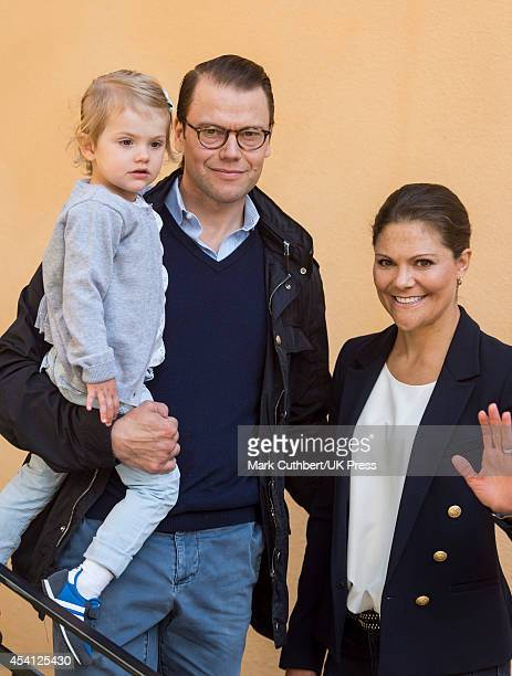 Crown Princess Victoria of Sweden and Prince Daniel Duke of Vastergotland attend a photocall on Princess Estelle's first day at preschool on August...