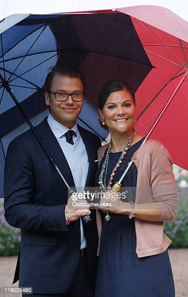 Crown Princess Victoria of Sweden and Prince Daniel Duke of Vastergotland attend Crown Princess Victoria's birthday celebrations at Solliden on July...