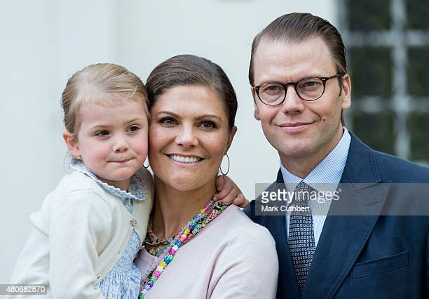 Crown Princess Victoria of Sweden and Prince Daniel Duke of Vastergotland with Princess Estelle of Sweden at the 38th birthday celebrations for Crown...
