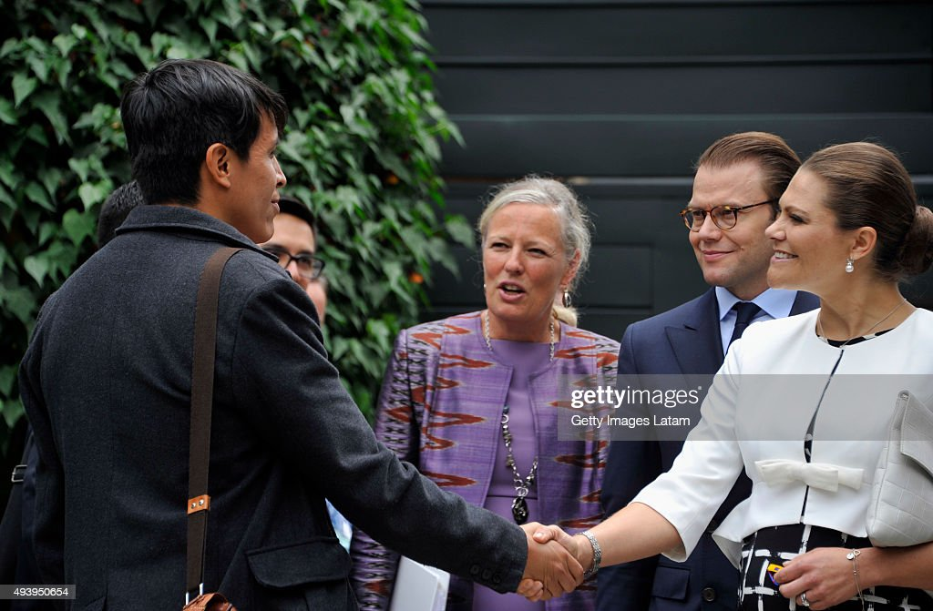 Crown Princess Victoria of Sweden and Prince Daniel of Sweden are greeted during a meeting with leaders of the Swedish Colombian alumni network at the residence of the Swedish Ambassador on October 23, 2015 in Bogota, Colombia.