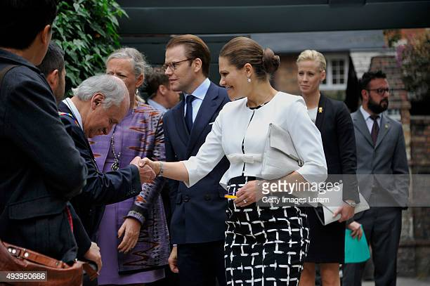 Crown Princess Victoria of Sweden and Prince Daniel of Sweden are greeted during a meeting with leaders of the Swedish Colombian alumni network at...