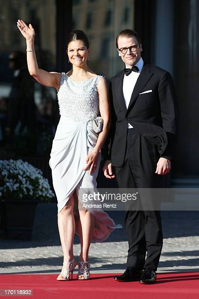 Crown Princess Victoria of Sweden and Prince Daniel of Sweden arrive at a private dinner on the eve of the wedding of Princess Madeleine and...