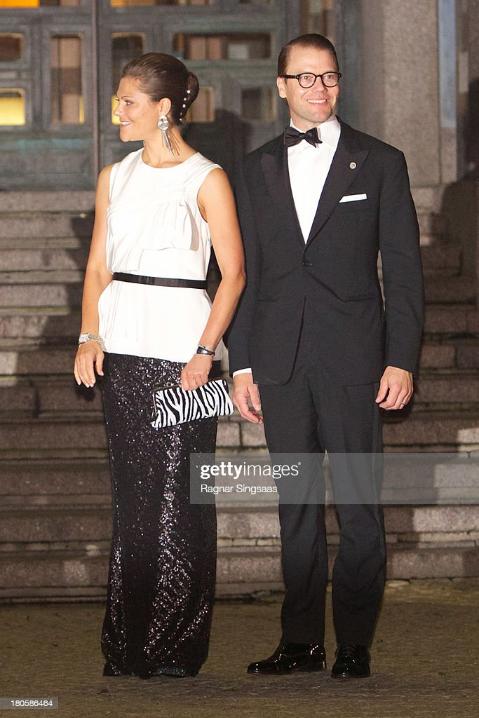 <a gi-track='captionPersonalityLinkClicked' href=/galleries/search?phrase=Crown+Princess+Victoria+of+Sweden&family=editorial&specificpeople=160266 ng-click='$event.stopPropagation()'>Crown Princess Victoria of Sweden</a> and Prince Daniel of Sweden arrive at the Swedish Riksdag's Jubilee Concert To Celebrate King Carl Gustaf's 40th Jubilee at Stockholm Concert Hall on September 14, 2013 in Stockholm, Sweden.