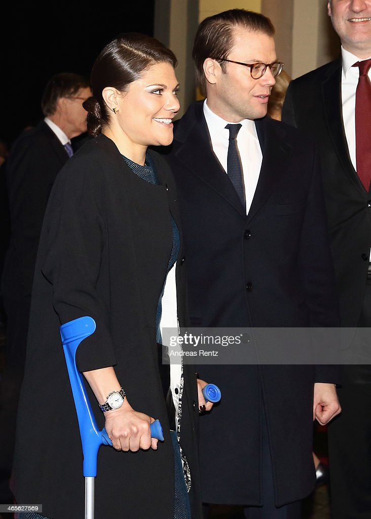 Crown Princess Victoria of Sweden and Prince Daniel of Sweden arrive for a dinner at Castle of Eller on January 28, 2014 in Dusseldorf, Germany.