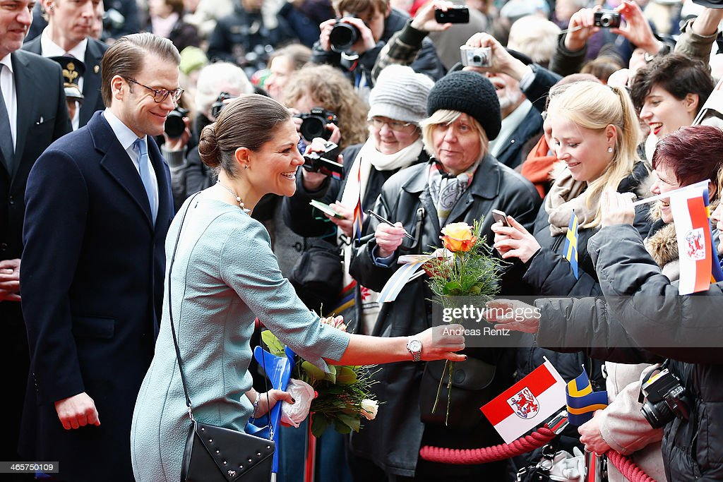 <a gi-track='captionPersonalityLinkClicked' href=/galleries/search?phrase=Crown+Princess+Victoria+of+Sweden&family=editorial&specificpeople=160266 ng-click='$event.stopPropagation()'>Crown Princess Victoria of Sweden</a> and Prince Daniel of Sweden arrive at the town hall on January 29, 2014 in Dusseldorf, Germany.