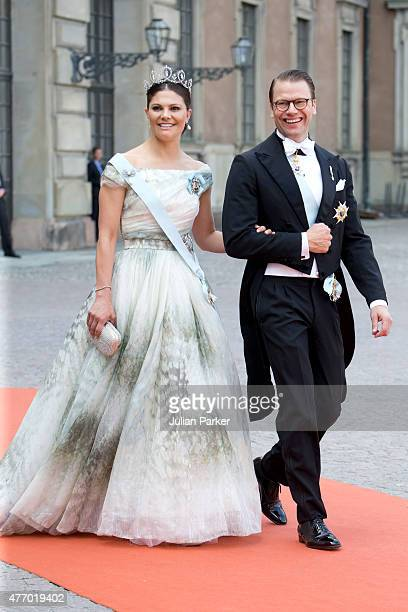 Crown Princess Victoria of Sweden and Prince Daniel of Sweden arrive at The Royal Chapel at The Royal Palace in Stockholm for The Wedding of Prince...