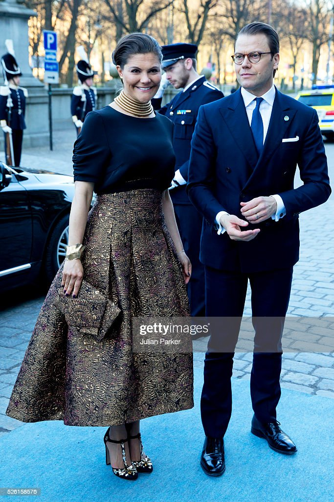 Crown Princess Victoria of Sweden, and Prince Daniel of Sweden, arrive for a Concert at the Nordic Museum, on the eve of King Carl Gustaf of Sweden's 70th Birthday, given by The Royal Swedish Opera, and The Stockholm Concert Hall, on April 29, 2016, in Stockholm, Sweden.