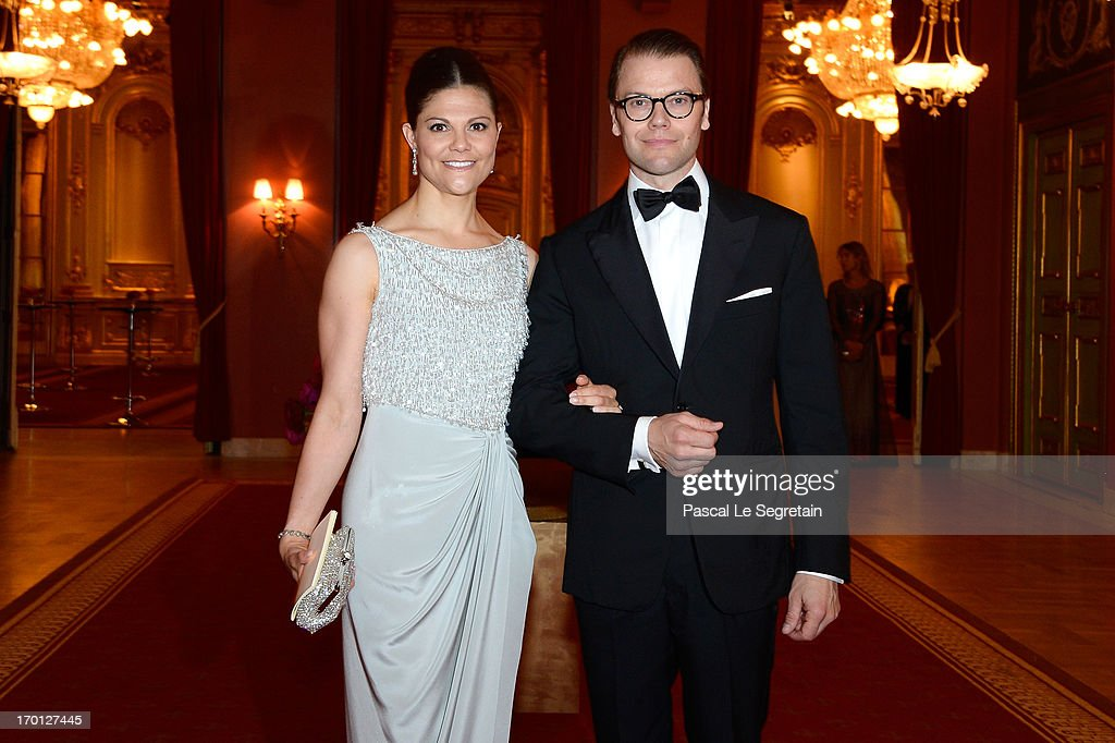 Crown Princess Victoria of Sweden and Prince Daniel of Sweden attend a private dinner on the eve of the wedding of Princess Madeleine and Christopher O'Neill hosted by King Carl XVI Gustaf and Queen Silvia at The Grand Hotel on June 7, 2013 in Stockholm, Sweden.