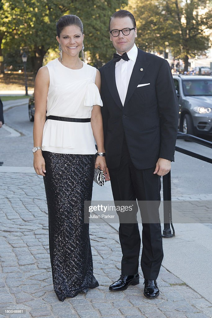 Crown Princess Victoria of Sweden and Prince Daniel of Sweden attend the Swedish Government dinner to celebrate King Carl Gustaf's 40th Jubilee at Nordiska Museum on September 14, 2013 in Stockholm, Sweden.