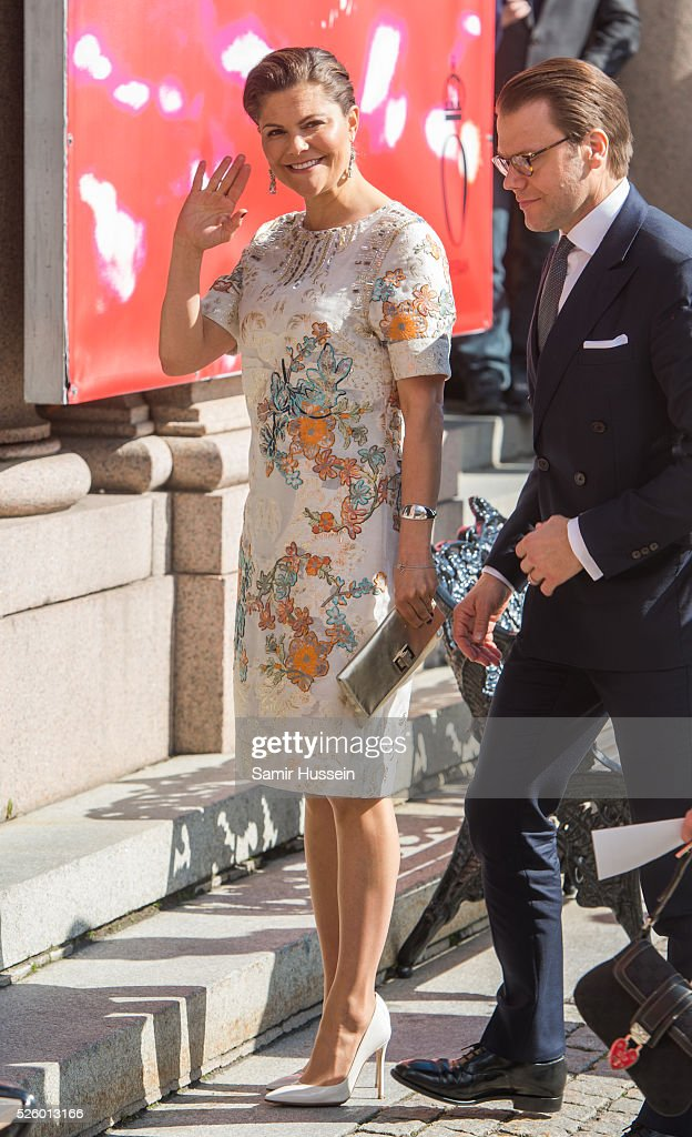 Crown Princess Victoria of Sweden and Prince Daniel of Sweden attend the Royal Artistic Academies for King Carl Gustaf's 70th birthday on April 29, 2016 in Stockholm, Sweden.
