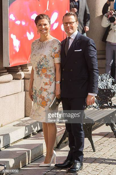 Crown Princess Victoria of Sweden and Prince Daniel of Sweden attend the Royal Artistic Academies for King Carl Gustaf's 70th birthday on April 29...