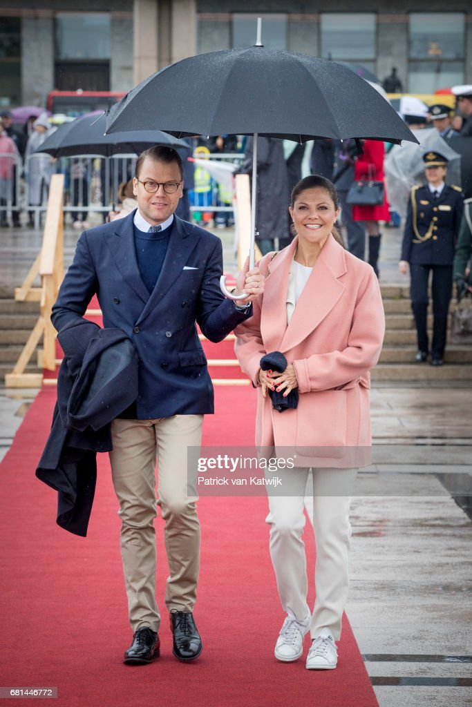 Crown Princess Victoria of Sweden and Prince Daniel of Sweden attend a lunch on the Norwegian Royal yatch 'Norge'to celebrate the 80th birthdays of King Harald of Norway and Queen Sonja of Norway on May 10, 2017 in Oslo, Norway.