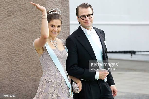 Crown Princess Victoria of Sweden and Prince Daniel of Sweden depart for the banquet after the wedding ceremony of Princess Madeleine of Sweden and...