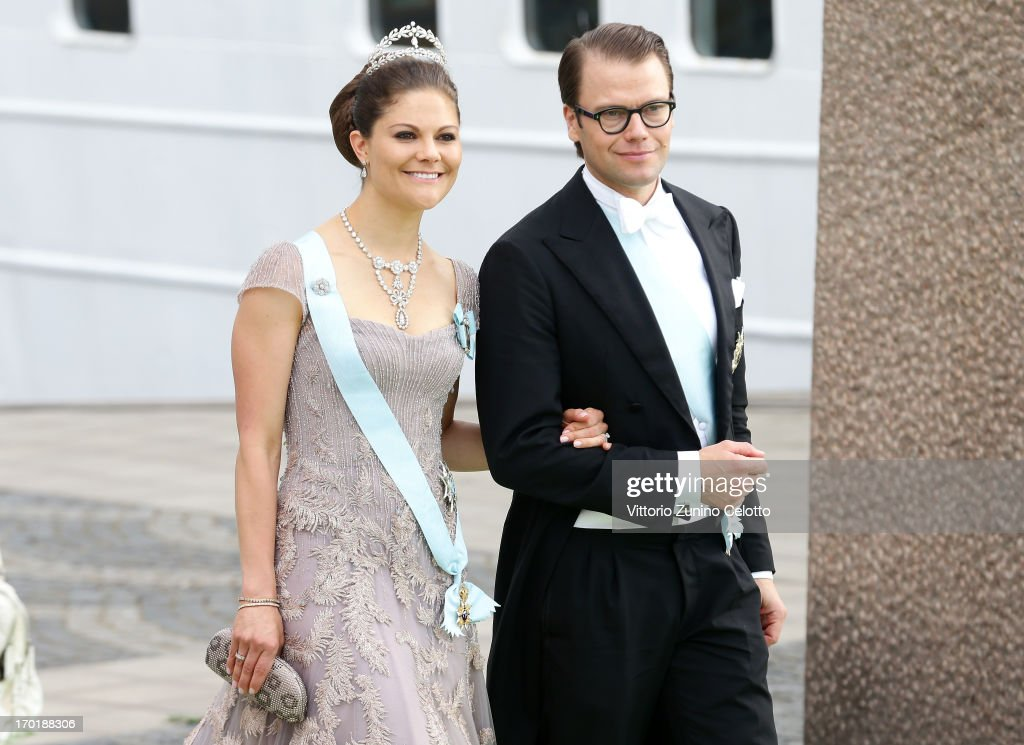 Crown Princess Victoria of Sweden and Prince Daniel of Sweden depart for the travel by boat to Drottningholm Palace for dinner after the wedding ceremony of Princess Madeleine of Sweden and Christopher O'Neill hosted by King Carl Gustaf XIV and Queen Silvia at The Royal Palace on June 8, 2013 in Stockholm, Sweden.