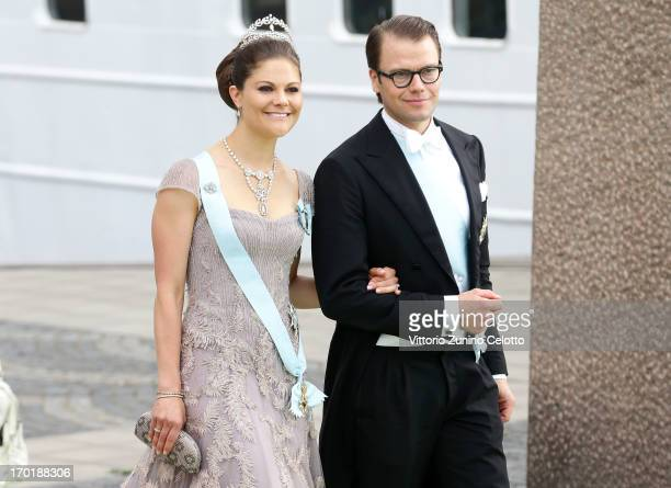 Crown Princess Victoria of Sweden and Prince Daniel of Sweden depart for the travel by boat to Drottningholm Palace for dinner after the wedding...