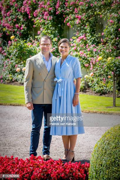 Crown Princess Victoria of Sweden and Prince Daniel of Sweden is seen meeting the people gathered in front of Solliden Palace to celebrate the 40th...