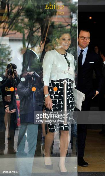 Crown Princess Victoria of Sweden and Prince Daniel of Sweden leave the Gold Museum after visiting it on October 23 2015 in Bogota Colombia