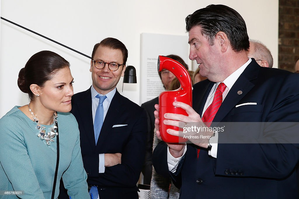 <a gi-track='captionPersonalityLinkClicked' href=/galleries/search?phrase=Crown+Princess+Victoria+of+Sweden&family=editorial&specificpeople=160266 ng-click='$event.stopPropagation()'>Crown Princess Victoria of Sweden</a> and Prince Daniel of Sweden look on to a fire-extinguisher during their visit of the special exhibition 'Sweden at its best: Red Dot Award-winning design from the North' at the Red dot design Museum on January 29, 2014 in Essen, Germany.