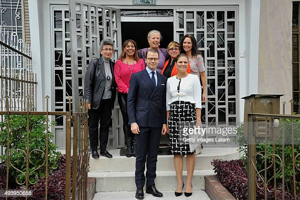 Crown Princess Victoria of Sweden and Prince Daniel of Sweden pose for a picture after having an informal meeting with representatives of Colombian...