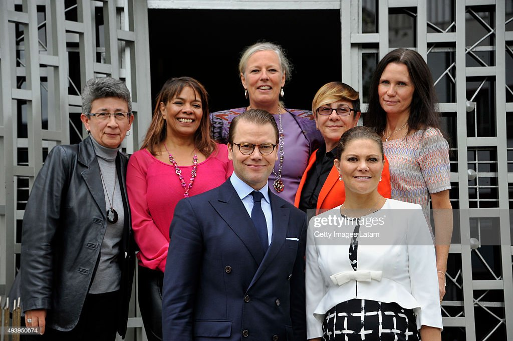 Crown Princess Victoria of Sweden and Prince Daniel of Sweden pose for a picture after having an informal meeting with representatives of Colombian women's organizations at the NGO 'Ruta Pacífico de las mujeres' headquarter on October 23, 2015 in Bogota, Colombia.