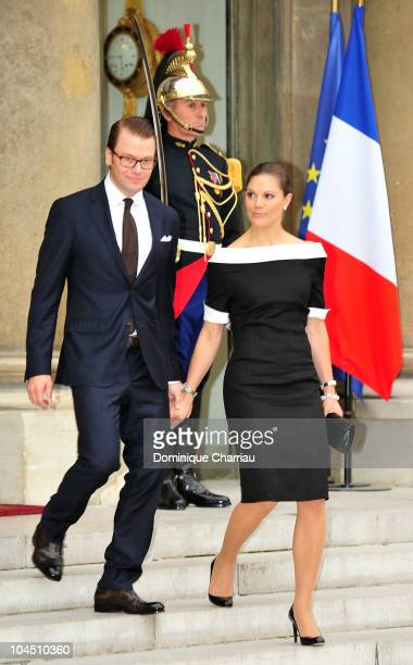 Crown Princess Victoria of Sweden and Prince Daniel of Sweden pose in the courtyard of Elysee Palace at on September 28 2010 in Paris France