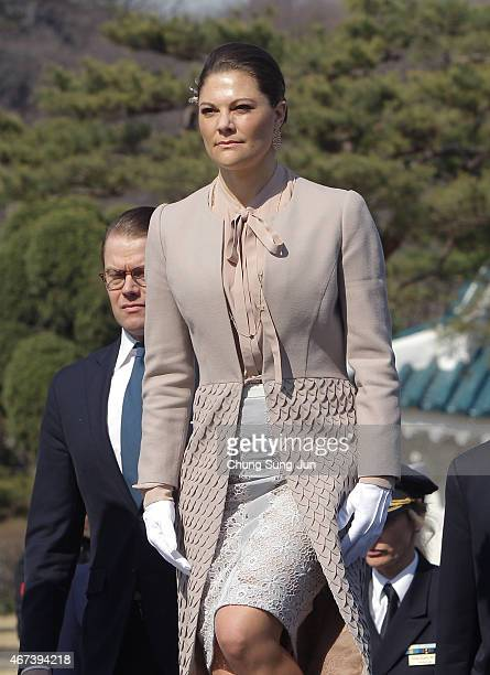 Crown Princess Victoria of Sweden and Prince Daniel of Sweden visit at Seoul National Cemetery during their visit to South Korea on March 24 2015 in...