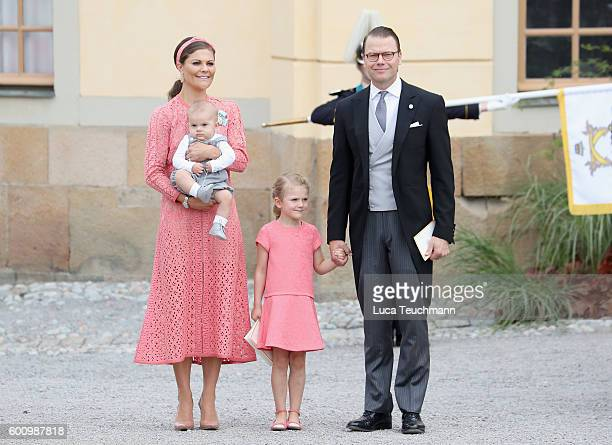 Crown Princess Victoria of Sweden and Prince Daniel of Sweden with their children Prince Oscar and Princess Estelle of Sweden attend the christening...