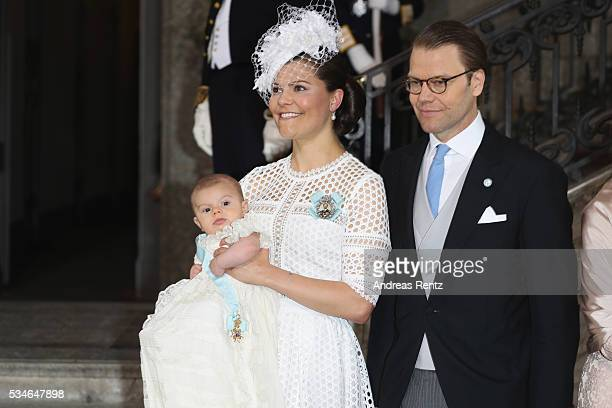 Crown Princess Victoria of Sweden and Prince Oscar of Sweden and Prince Daniel of Sweden are seen at Royal Palace of Stockholm for the Christening of...