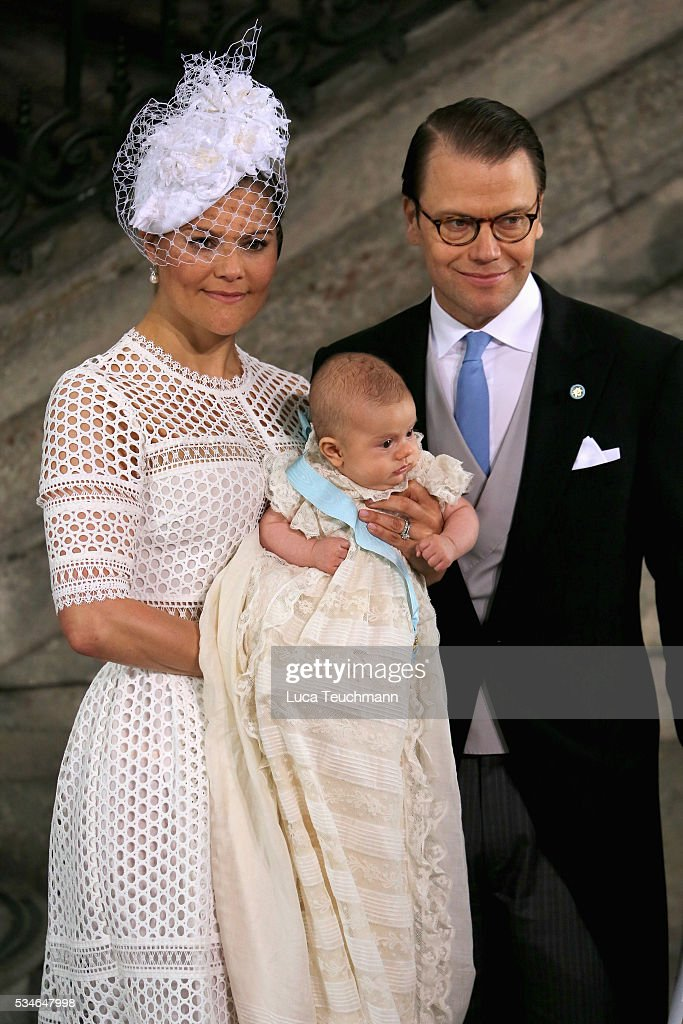 Crown Princess Victoria of Sweden and Prince Oscar of Sweden and Prince Daniel of Sweden are seen at The Royal Palace for the Christening of Prince Oscar of Sweden on May 27, 2016 in Stockholm, Sweden.