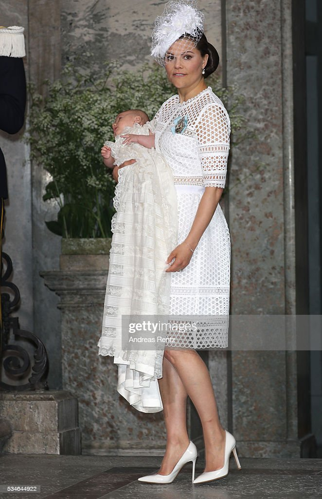 Crown Princess Victoria of Sweden and Prince Oscar of Sweden are seen at Drottningholm Palace for the Christening of Prince Oscar of Sweden on May 27, 2016 in Stockholm, Sweden.