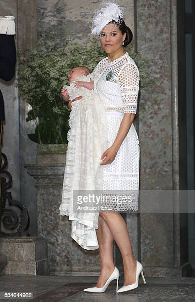 Crown Princess Victoria of Sweden and Prince Oscar of Sweden are seen at Royal Palace of Stockholm for the Christening of Prince Oscar of Sweden on...