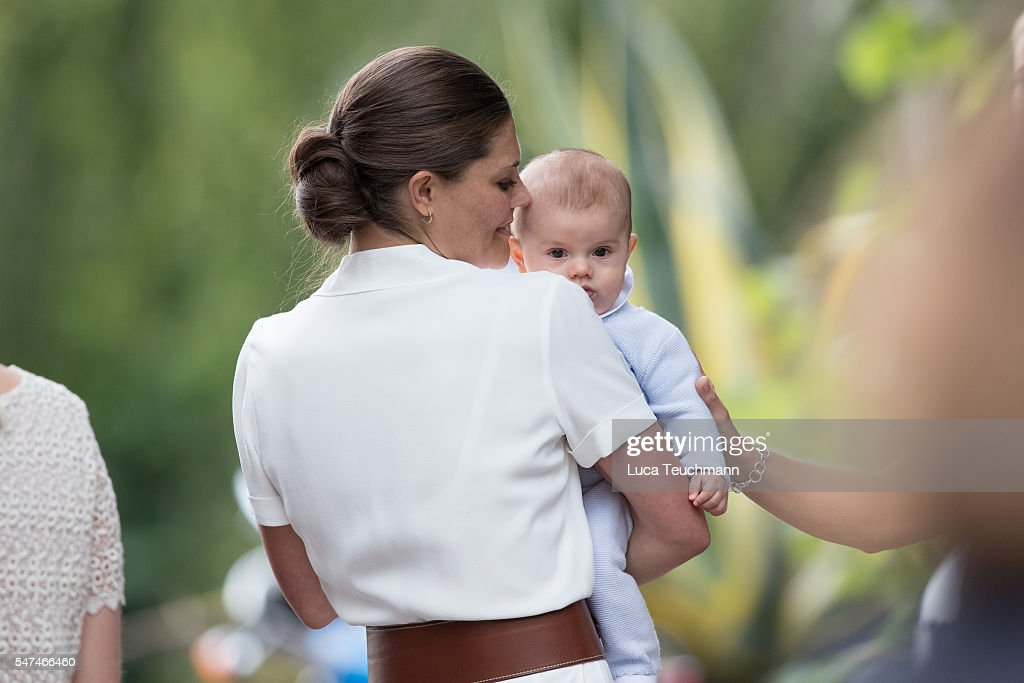Crown Princess Victoria of Sweden and Prince Oscar of Sweden arrives for Birthday celebrations of Crown Princess Victoria of Sweden at Solliden Palace on July 14, 2016 in Oland, Sweden.