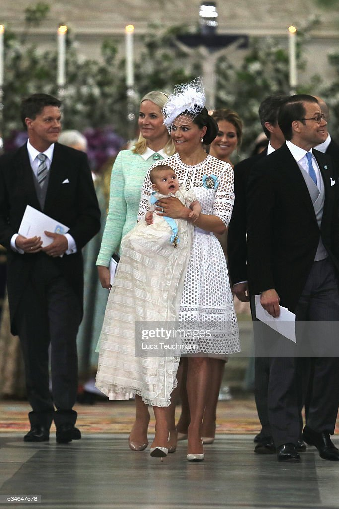 Crown Princess Victoria of Sweden and Prince Oscar of Sweden, Prince Daniel of Sweden and Princess Estelle of Sweden are seen at Drottningholm Palace for the Christening of Prince Oscar of Sweden on May 27, 2016 in Stockholm, Sweden.