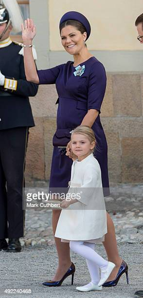 Crown Princess Victoria of Sweden and Princess Estelle of Sweden are seen at Drottningholm Palace for the Christening of Prince Nicolas of Sweden at...