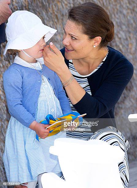 Crown Princess Victoria of Sweden and Princess Estelle of Sweden open a Fairytale Path at Lake Takern on May 17 2014 in Mjolby Sweden