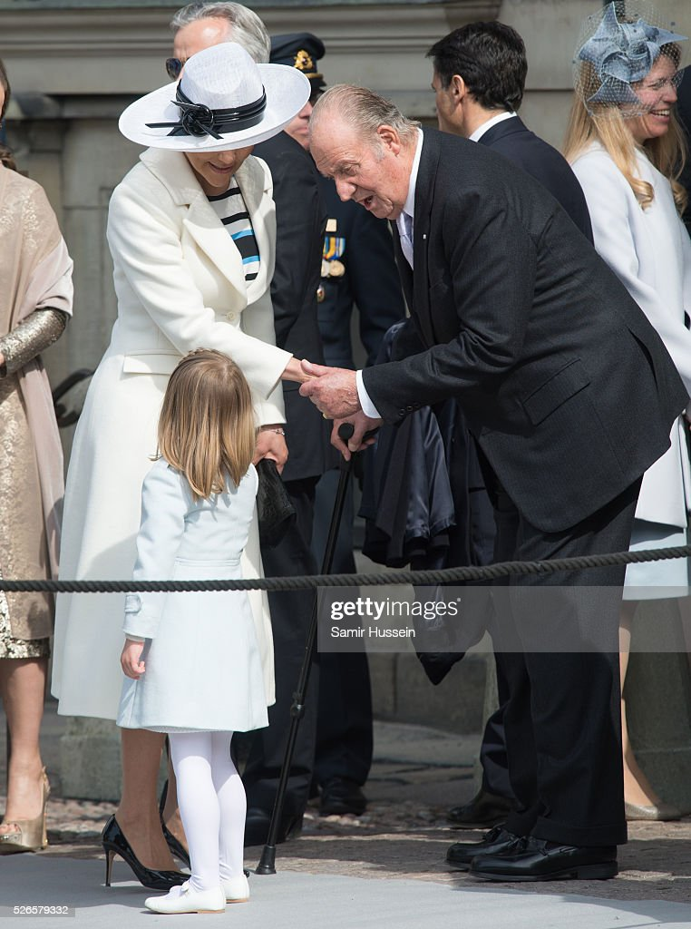 Crown Princess Victoria of Sweden and Princess Estelle of Sweden greet King Juan Carlos as they attend the celebrations of the Swedish Armed Forces for the 70th birthday of King Carl Gustaf of Sweden on April 30, 2016 in Stockholm, Sweden.