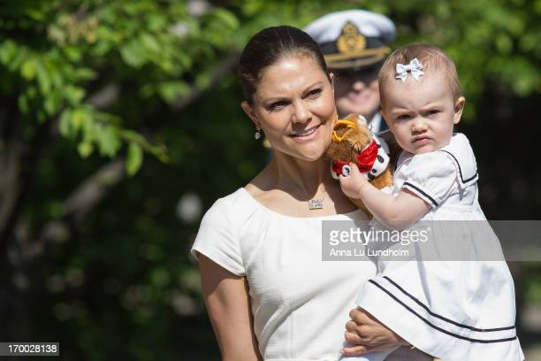 Crown Princess Victoria of Sweden and Princess Estelle of Sweden attends the National Day Celebrations at the Royal Palace of Stockholm on June 6...