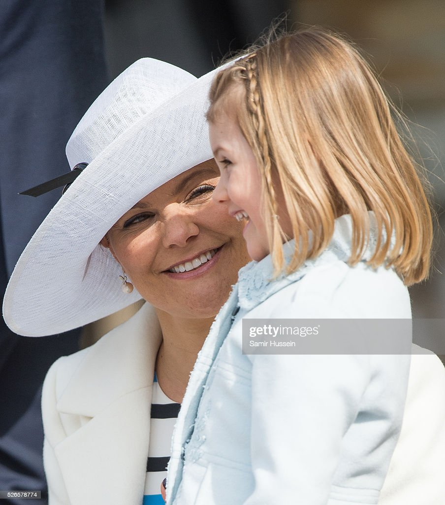 Crown Princess Victoria of Sweden and Princess Estelle of Sweden attend the celebrations of the Swedish Armed Forces for the 70th birthday of King Carl Gustaf of Sweden on April 30, 2016 in Stockholm, Sweden.
