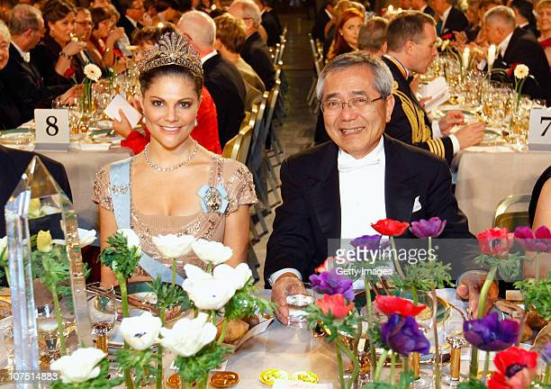 Crown Princess Victoria of Sweden and professor Eiichi Negishi of Japan Nobel Laureate in Chemistry attend the Nobel Banquet at the Stockholm City...