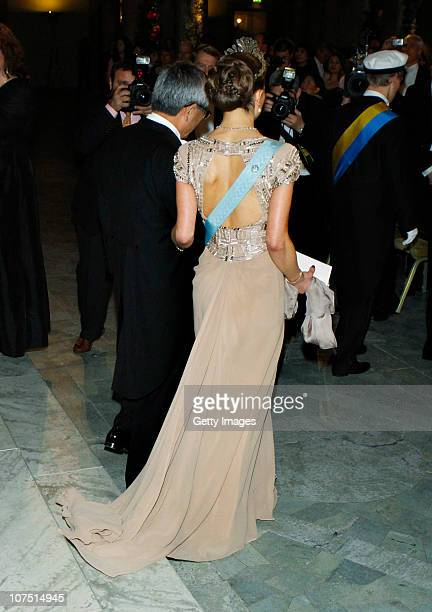 Crown Princess Victoria of Sweden and professor Eiichi Negishi of Japan Nobel Laureate in Chemistry arrive to the Nobel Banquet at the Stockholm City...