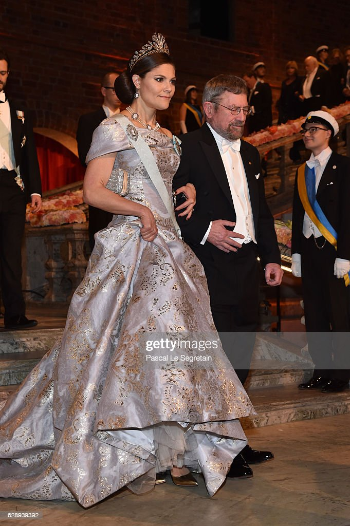 Crown Princess Victoria of Sweden and Professor J. Michael Kosterlitz, laureate of the Nobel Prize in Physics arrive at the Nobel Prize Banquet 2015 at City Hall on December 10, 2016 in Stockholm, Sweden.