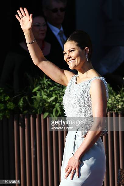 Crown Princess Victoria of Sweden arrives at a private dinner on the eve of the wedding of Princess Madeleine and Christopher O'Neill hosted by King...