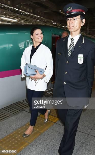 Crown Princess Victoria of Sweden arrives at Sendai JR Station on April 21 2017 in Sendai Japan Crown Princess Victoria is visiting Japan from April...