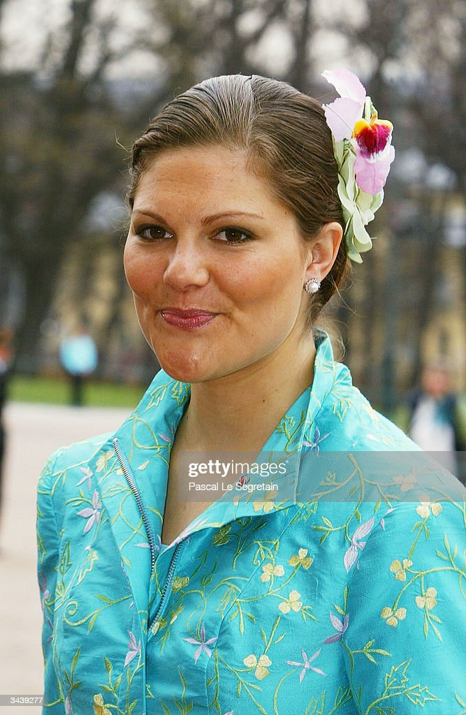 Crown Princess Victoria of Sweden arrives at the christening of Princess Ingrid Alexandra - daughter of Crown Prince Haakon and Crown Princess Mette-Marit at the chapel inside The Royal Palace on April 17, 2004 in Oslo, Norway. The Princess was born on January 21, 2004 and is second in line to the throne.