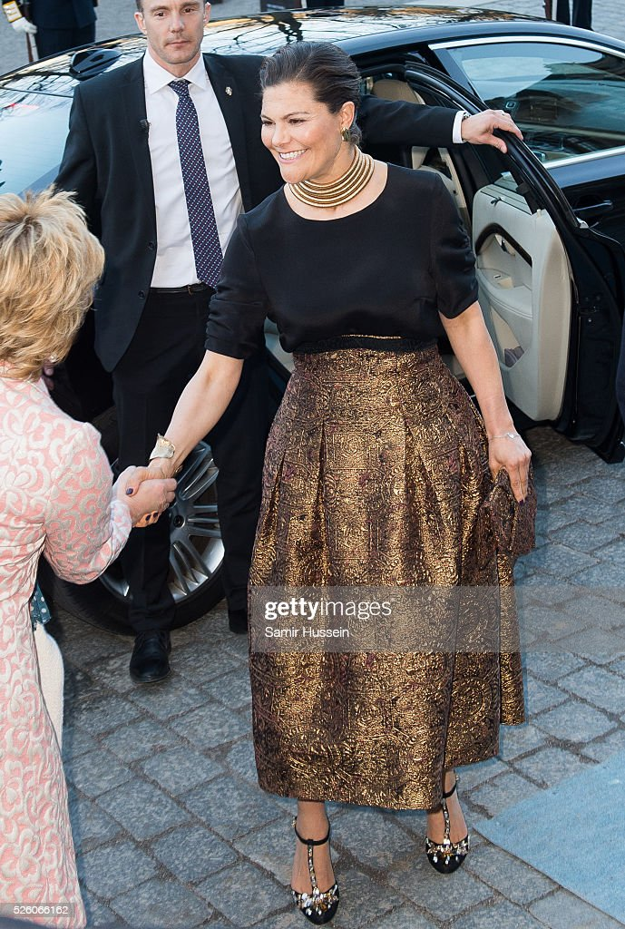 Crown Princess Victoria of Sweden arrives at the Nordic Museum to attend a concert of the Royal Swedish Opera and Stockholm Concert Hall to celebrate the 70th birthday of King Carl Gustaf of Sweden on April 29, 2016 in Stockholm, Sweden.