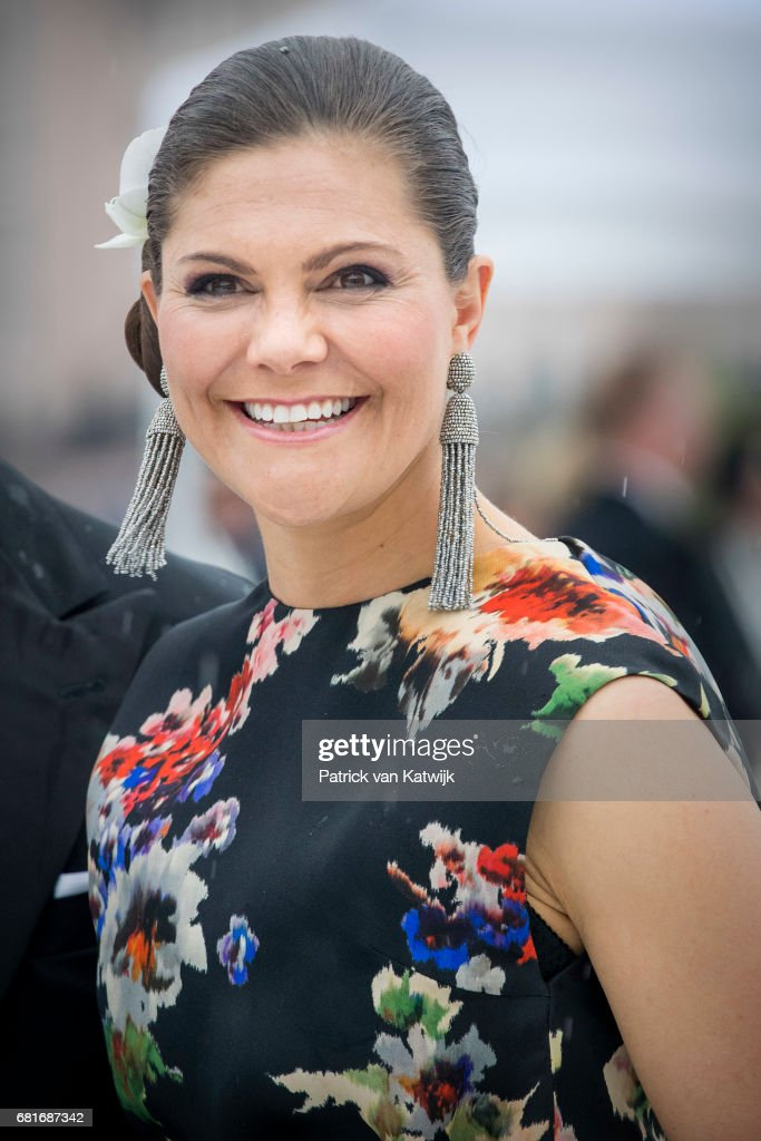 Crown Princess Victoria of Sweden arrives at the Opera House on the ocassion of the celebration of King Harald and Queen Sonja of Norway 80th birthdays on May 10, 2017 in Oslo, Norway.