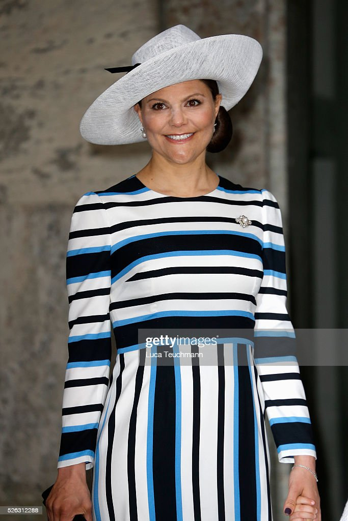 Crown Princess Victoria of Sweden arrives at the Royal Palace to attend Te Deum Thanksgiving Service to celebrate the 70th birthday of King Carl Gustaf of Sweden on April 30, 2016 in Stockholm, Sweden.
