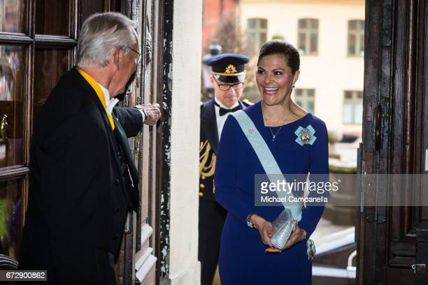 Crown Princess Victoria of Sweden arrives at the Royal Patriotic Society's annual event at Riddarhuset on April 25 2017 in Stockholm Sweden
