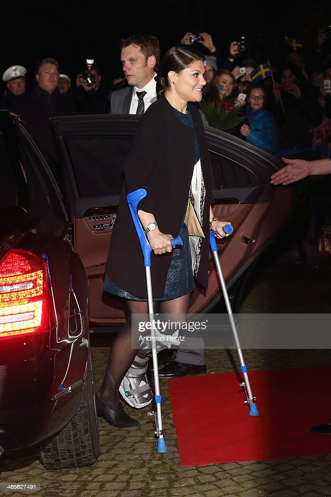 Crown Princess Victoria of Sweden arrives for a dinner at Castle of Eller on January 28, 2014 in Dusseldorf, Germany.